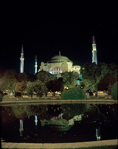 Haigia Sophia (St. Sofia) at night.  Built in the 500's as a Christian church, it was converted to a mosque in the 1450's after the capture of the city, and is now a museum.