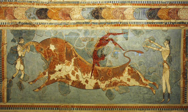 Fresco from the East Wing of the palace of Knossos depicting a contest in which young men and girls would perform sumersaults over the horns of a charging bull.  A popular, though dangerous, contest among the Minoans.
