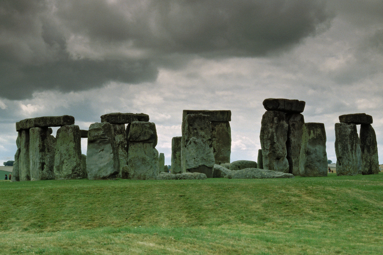 Storm clouds beginning to form over Stonehenge in England.