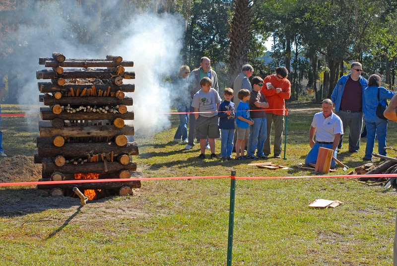 """Thomas Spalding's Ashantilly near Darien, Georgia during the Darien Festival on 11/08/08 with Buddy Sullivan as Guest Speaker at the house and at St. Andrews Cemetery - Image of a """"rick"""" to burn shells into lime to be used in making tabby."""