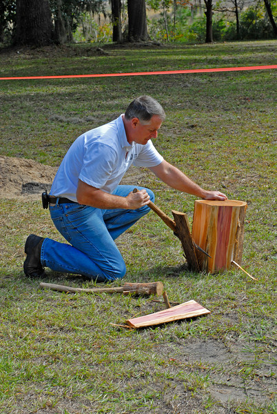 Thomas Spalding's Ashantilly near Darien, Georgia during the Darien Festival on 11/08/08 with Buddy Sullivan as Guest Speaker at the house and at St. Andrews Cemetery. Making shingles with period implements.