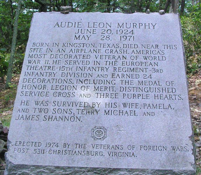 Audie Murphy Monument Plack