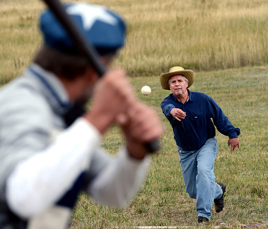 "Sneaky Pete Traxler of the Walker Ranch team pitches to Robert Mitchell of the Territorial Allstars.<br /> Walker Ranch celebrated Autumn with a demonstration of life in the 1880's and a vintage baseball game on Sunday.<br /> For more photos and a video of Walker Ranch, go to  <a href=""http://www.dailycamera.com"">http://www.dailycamera.com</a>.<br /> Cliff Grassmick  / September 30, 2012"