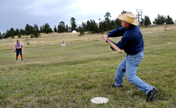 """Sneaky Pete Traxler prepares to hit the pitch of Ivory Churchill during the vintage baseball game.<br /> Walker Ranch celebrated Autumn with a demonstration of life in the 1880's and a vintage baseball game on Sunday.<br /> For more photos and a video of Walker Ranch, go to  <a href=""""http://www.dailycamera.com"""">http://www.dailycamera.com</a>.<br /> Cliff Grassmick  / September 30, 2012"""