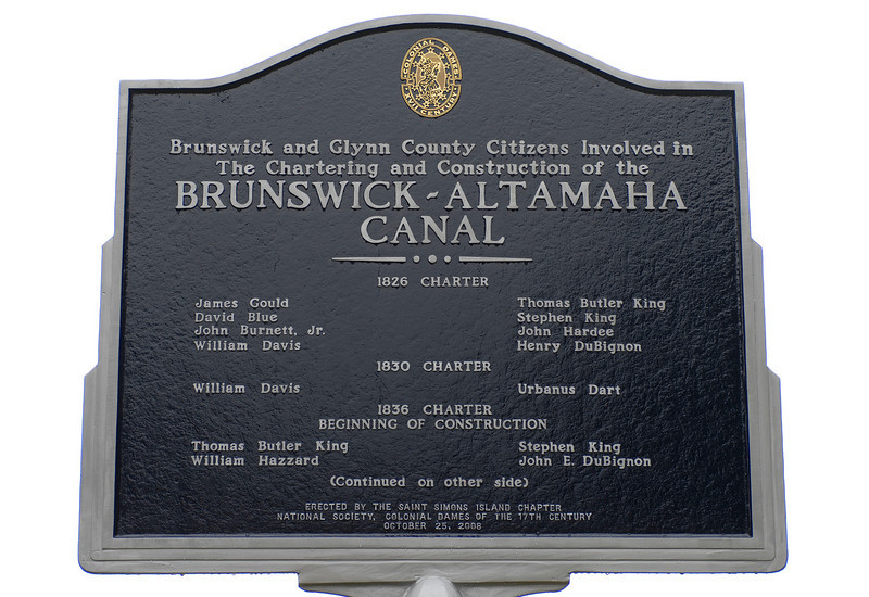 Dedication Day for the Monument to the Brunswick-Altamaha Canal in Brunswick, Glynn County, Georgia  October 25th, 2008  erected by the Saint Simons Chapter of the National Society of the Colonial Dames of the 17th Century