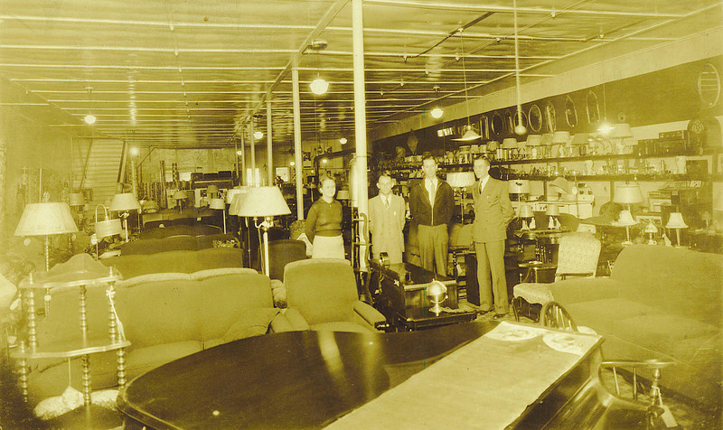 1. Hunt Brothers Furniture Company was in the same building, before Peoples Furniture Co. Mildred Freeman is at left, probably in the early to mid-1930s, then Clinton Ellis, Bob White and Verlon Harmon.