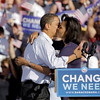 Democratic presidential candidate, Sen. Barack Obama, D-Ill., left, hugs his wife Michelle at a rally in Pueblo, Colo., Saturday, Nov.1, 2008. (AP Photo/Jae C. Hong)