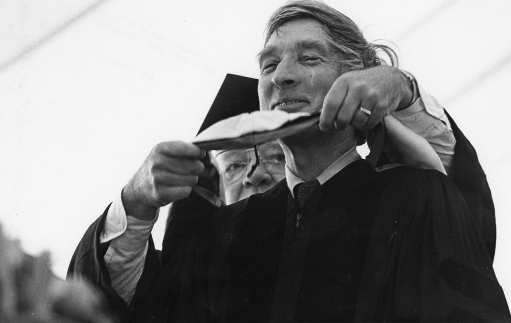 . John Updike at the Bard College graduation on May 26, 1984.