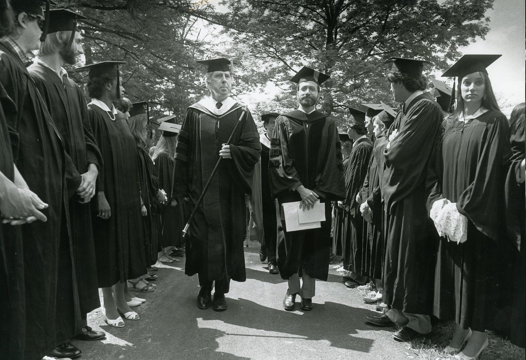 . Bard College graduation on May, 1983. Dean Stuart Levine is at center, left.