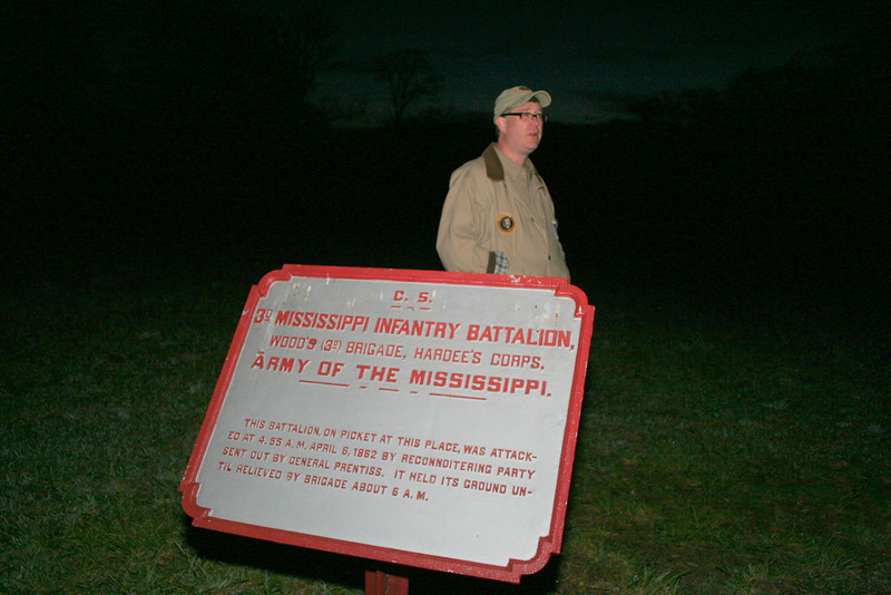 "Shiloh National Battlefield Park - Saturday, April 6: ""Fraley Field: The Battle Begins"" (5:00 am - 6:30 am) Join park volunteers JEFF GENTSCH and Bjorn Skaptason for a two hour hike which will introduce visitors to the opening shots of the battle. These hikes will follow the  approaches of the Northern and Southern soldiers and arrive in Fraley Field at sunrise. Hikers will meet at the Visitor Center at 5:00 am and divide into two groups, one Union and one CONFEDERATE.  Hiking Distance: 1 mile CS, 2 miles US; Terrain: MODERATE."