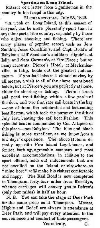Interesting short account of a stay at Pierce's hotel in Mechanicsville (i.e. Bay Shore) in the summer of 1842.<br>  <i>(Brooklyn Eagle & Kings County Democrat, July 29, 1842, Pg.2, Col.4)</i>