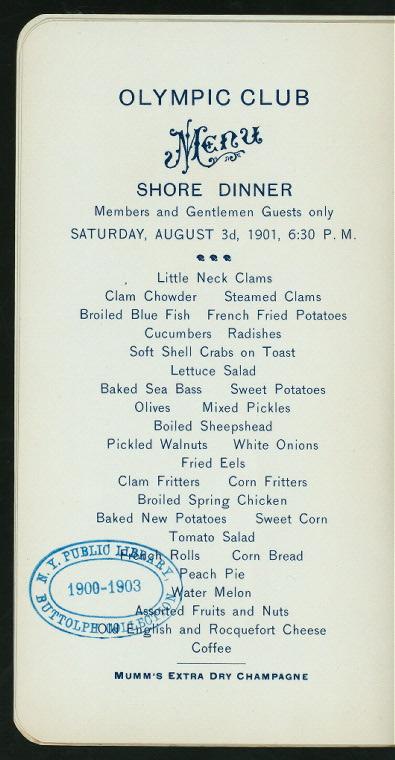 Olympic Club Shore Dinner menu, August 3, 1901