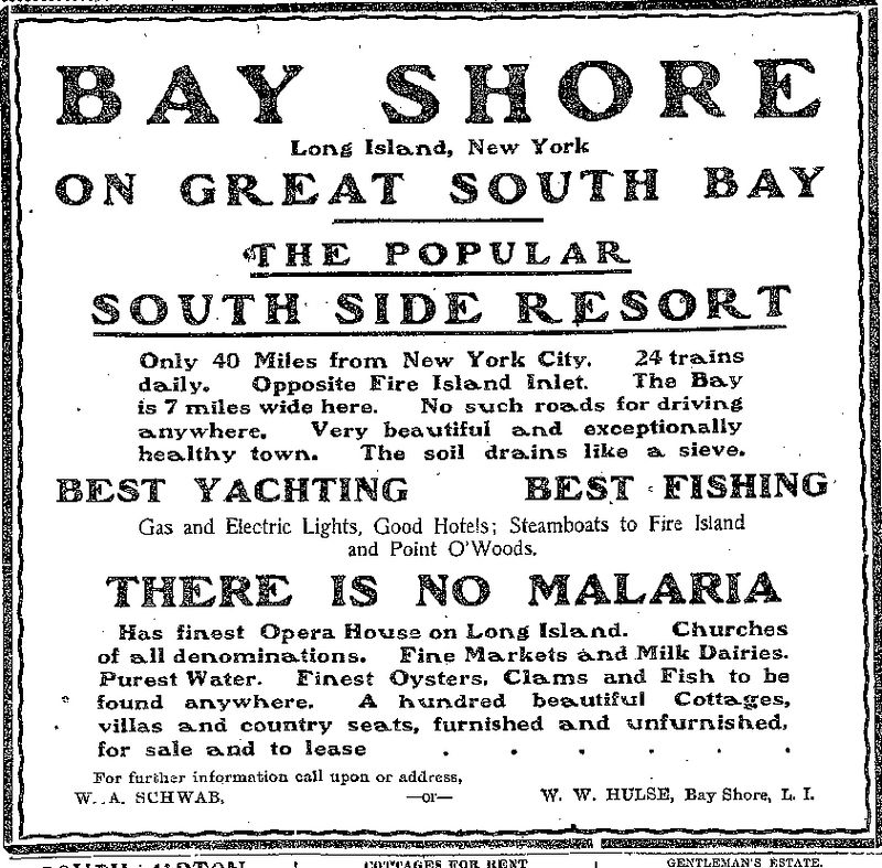 """""""The popular south-side resort...there is no malaria"""", April 1904 <i>(NYT classified ad, April 12, 1904, pg. 14)</i>"""