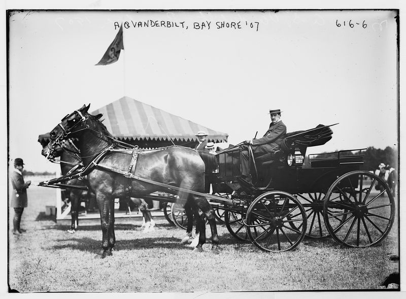 """Alfred Gwynne Vanderbilt, Bay Shore Horse Show, Oakwood Driving Park, August 1907  Note: <a href=""""http://rmslusitania.info/pages/saloon_class/vanderbilt_ag.html"""">A G Vanderbilt</a> was the son of Cornelius Vanderbilt II. He died age 38 on the Lusitania in May 1915 after it was torpedoed by the Germans. He left a fortune of over $26 million."""