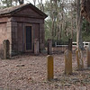 Mausoleum and tombstones in Zion Cemetery