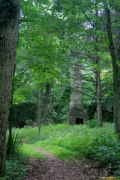 """Solitary Chimney 1<br /> Beck's Mill, June 2010<br /> <br /> This is the chimney to a house that was on the property just above the mill (about a 3 minute walk uphill). <br /> <br /> Beck's Mill was founded December 1807 by George Beck Sr. If you visit Southern Indiana (Salem, IN area - near Spring Mill State Park) make sure to go and see Beck's Mill! It's well worth the admission cost and the funds go to support the mill. Photos from before and during the recent restoration can be found on the Mill's website at  <a href=""""http://www.friendsofbecksmill.org"""">http://www.friendsofbecksmill.org</a>."""