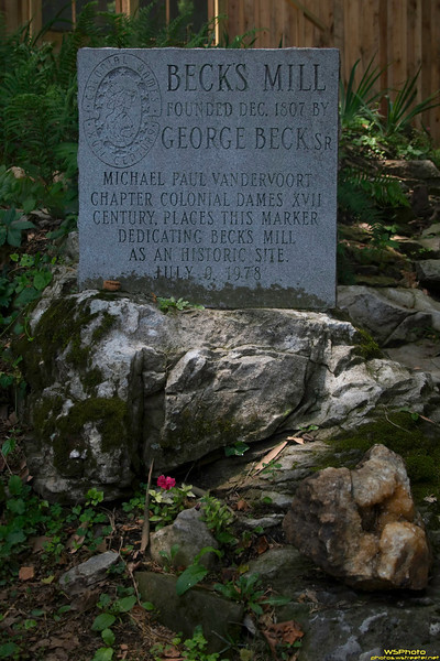 "Historic Beck's Mill<br /> Beck's Mill - June 2010<br /> <br /> Historic marker stone at Beck's Mill<br /> <br /> Founded December 1807 by George Beck Sr. If you visit Southern Indiana (Salem, IN area - near Spring Mill State Park) make sure to go and see Beck's Mill! It's well worth the admission cost and the funds go to support the mill. Photos from before and during the recent restoration can be found on the Mill's website at  <a href=""http://www.friendsofbecksmill.org"">http://www.friendsofbecksmill.org</a>."