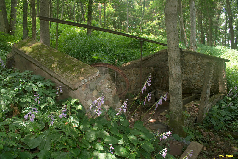 """Wasted Workshed 1<br /> Beck's Mill, June 2010<br /> <br /> This seems to be an old stone work or storage shed on the mill property right next to the mill. The stone base of the house can also be seen at the bottom of the photo.<br /> <br /> Beck's Mill was founded December 1807 by George Beck Sr. If you visit Southern Indiana (Salem, IN area - near Spring Mill State Park) make sure to go and see Beck's Mill! It's well worth the admission cost and the funds go to support the mill. Photos from before and during the recent restoration can be found on the Mill's website at  <a href=""""http://www.friendsofbecksmill.org"""">http://www.friendsofbecksmill.org</a>."""