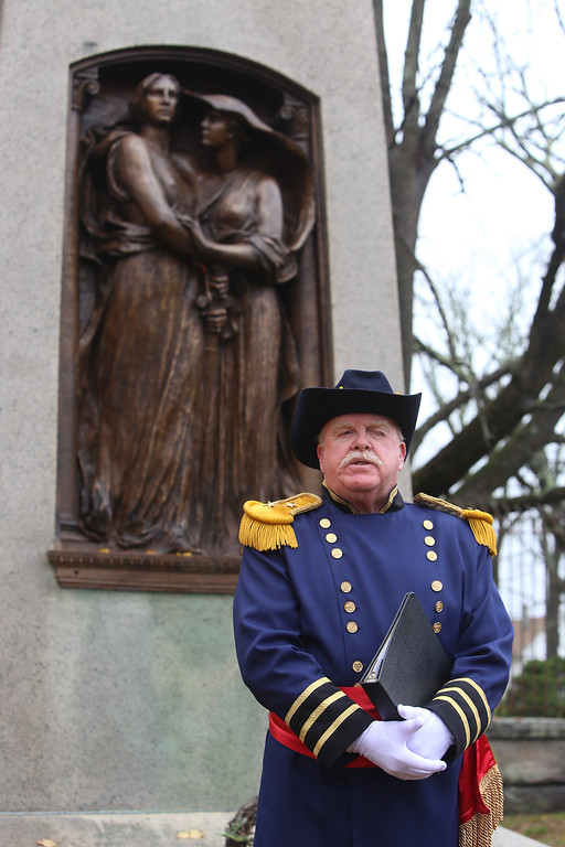 . Hildreth Cemetery holds its annual opening of the private cemetery. This year, they unveiled the sculpture by Bela Lyons Pratt, recently restored, on the grave of  Benjamin Butler. Richard Scott portrays ben Butler. (SUN/Julia Malakie)