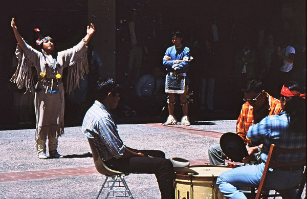 3*Tue, Apr 29, 1969<br /> *People: woman leading prayer<br /> Subject: <br /> *Place: sproul plaza, ucb<br /> Activity: <br /> Comments: Lord's prayer in sign language