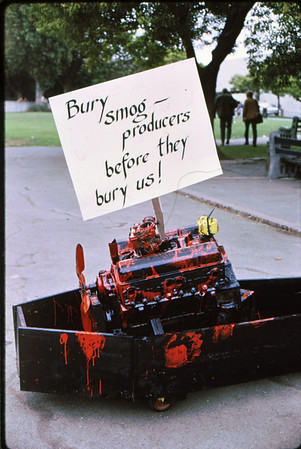 """3*Sat, Sep 27, 1969<br /> *People: <br /> Subject: engine in coffin<br /> *Place: Provo Park,Berkeley<br /> Activity: smog-free locomotion day<br /> Comments: since early 1900s, the Amish consider autos """"an abomination""""."""