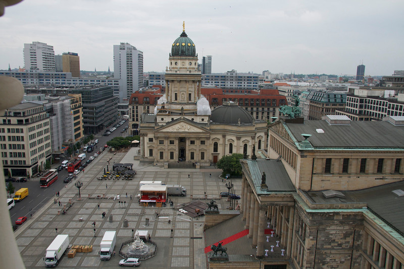 Deutscher Dom, Gendarmenmarkt, Berlin 2012 (from the north--the Berlin Hilton blocks the view from the south). <br /> The photo is taken from the Französischer Dom which forms the northern border of the square. This is considered by many to be one of the most beautiful squares in Berlin today. The buildings were all destroyed in WWII and are still being rebuilt.