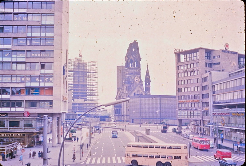 Kaiser-Wilhelm Memorial Church, from the Zoologischer Bahnhof, 1964<br /> (our first view of Berlin, from the train station)