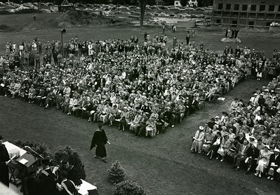 First Commencement at Merrimack, outside Cushing Hall, Sunday June 3, 1951.