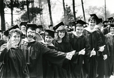 Some students of the Class of 1989 celebrate their Commencement.