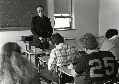Fr. Dwyer, O.S.A., in class, 1986.
