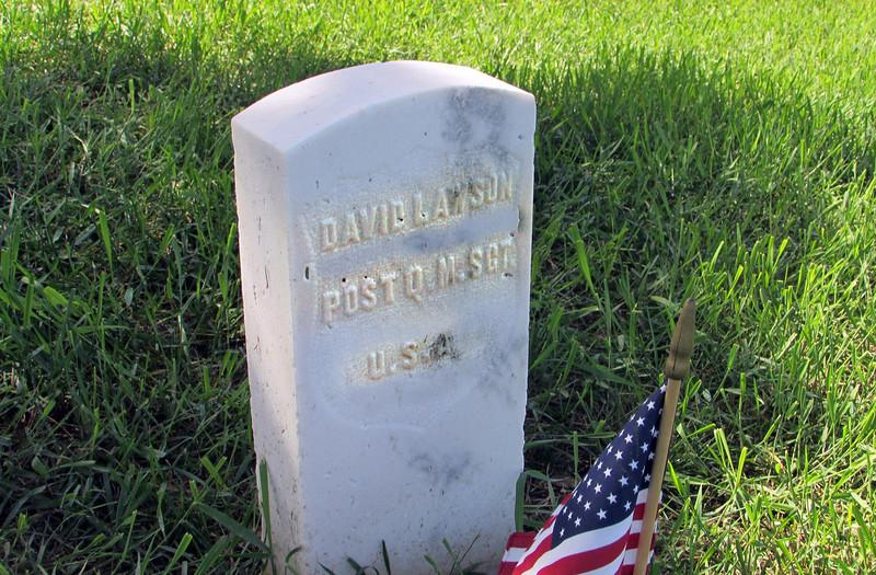 Grave marker for Sgt. David Lawson - 29 December 1887