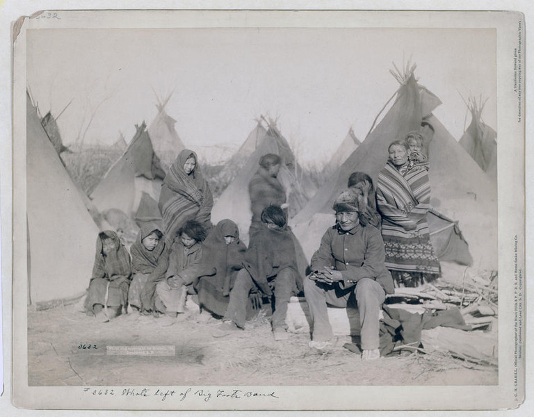 Title: What's left of Big Foot's band<br /> Group of eleven Miniconjou (children and adults) in a tipi camp, probably on or near Pine Ridge Reservation. 1891.<br /> Repository: Library of Congress Prints and Photographs Division Washington, D.C. 20540 USA