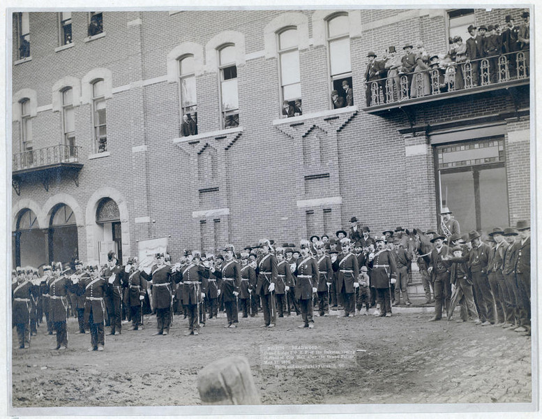 "Title: Deadwood. Grand Lodge I.O.O.F. of the Dakotas, resting in front of City Hall after the Grand Parade, May 21, 1890 Group of uniformed men posing in front of a large brick building. Repository: Library of Congress Prints and Photographs Division Washington, D.C. 20540   Return to <a href=""http://www.spearfishhistory.org"">Spearfish Area Historical Society</a>  Return to <a href=""http://www.lawrencecountyhistory.com""> Lawrence County Historical Society</a>"