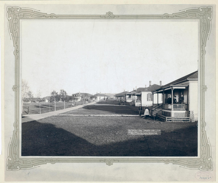 Title: The Officers' Line. Fort Meade, Dak.<br /> Homes, lawns and a few military men in residential area. 1889.<br /> Repository: Library of Congress Prints and Photographs Division Washington, D.C. 20540