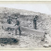 "Title: ""Gold Dust."" Placer mining at Rockerville, Dak. Old timers, Spriggs, Lamb and Dillon at work<br /> Three men placer mining with shovels, picks and pan. 1889.<br /> Repository: Library of Congress Prints and Photographs Division Washington, D.C. 20540"