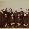Past Grand Masters of the Dakota I.O.O.F.  The photo was taken by Grabill in Deadwood in 1890.<br /> <br /> The men are listed as:  A.E. Clough, A.E. Nugent, H.J. Rowe, Wm. A. Beatly,  E.W. Miller, H.J. Rice, F.S. Emerson, A.G. Smith, R.R. Briggs, and Zina Richey.  <br /> <br /> Alas, this is not necessarily the order they're standing/sitting.