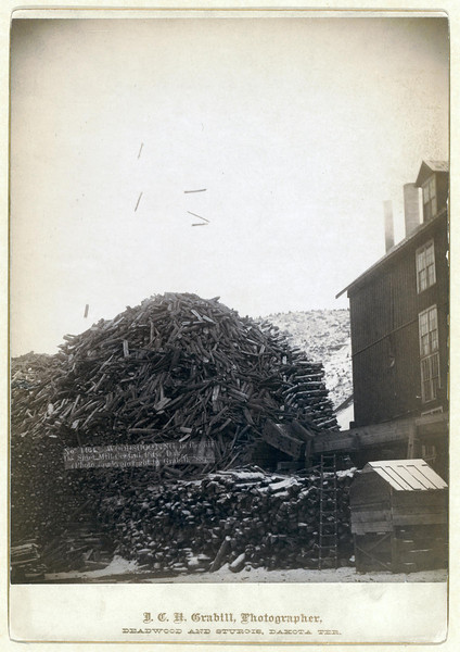 Title: Wood shooting in the air, De Smet Mill, Center City, Dak.<br /> Large pile of timber next to a building. 1888.<br /> Repository: Library of Congress Prints and Photographs Division Washington, D.C. 20540