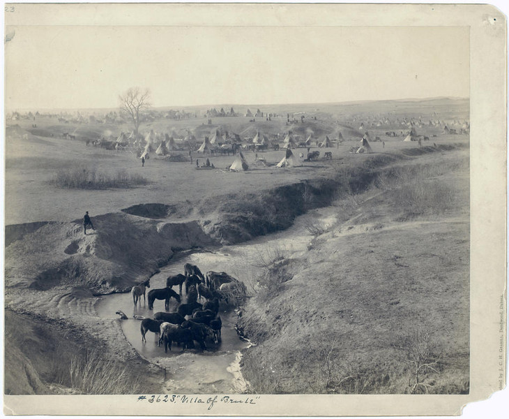 Title: Villa of Brule<br /> A Lakota tipi camp near Pine Ridge, in background; horses at White Clay Creek watering hole, in the foreground. 1891.<br /> Repository: Library of Congress Prints and Photographs Division Washington, D.C. 20540