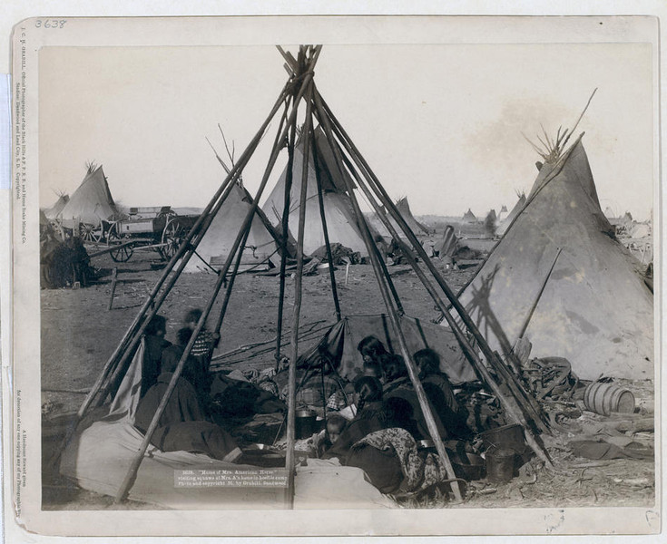 "Title: ""Home of Mrs. American Horse."" Visiting squaws at Mrs. A's home in hostile camp<br /> Oglala women and children seated inside an uncovered tipi frame in an encampment--most are looking away from the camera--probably on or near Pine Ridge Reservation. 1891.<br /> Repository: Library of Congress Prints and Photographs Division Washington, D.C. 20540"