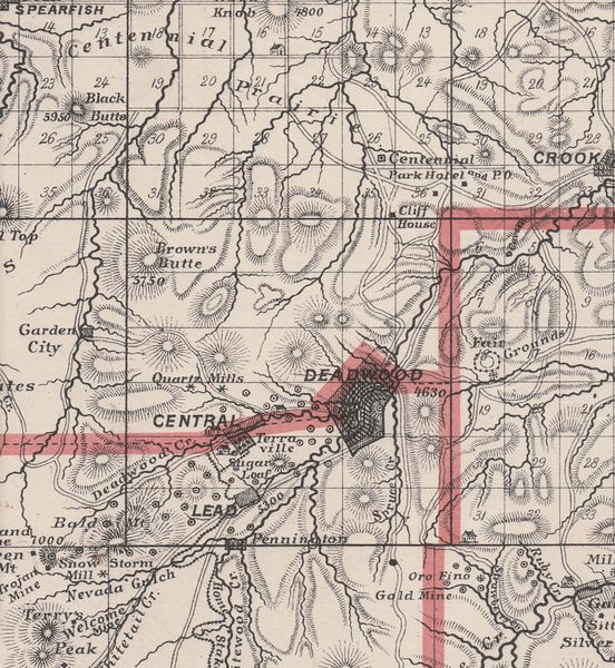 From the Andrea's Historical Atlas of Dakota published in 1884; this is a closer look at the Lead, Central, and Deadwood area.  <i>Thanks to the Case Library at Black Hills State University.</b>