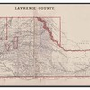 <b>1884 MAP OF LAWRENCE COUNTY</b> Lawrence County was a pretty good sized county before statehood.  This 1884 image is from the <b>Andreas Historical Atlas of Dakota</b> published by R. R. Donnelly & Sons, the Lakeside Press, 140-146 Monroe St., Chicago, Illinois..  The key indicates that there were 42 voting precincts, 33 school districts, and 28 road districts.  (Thanks to the Case Library at Black Hills State University).