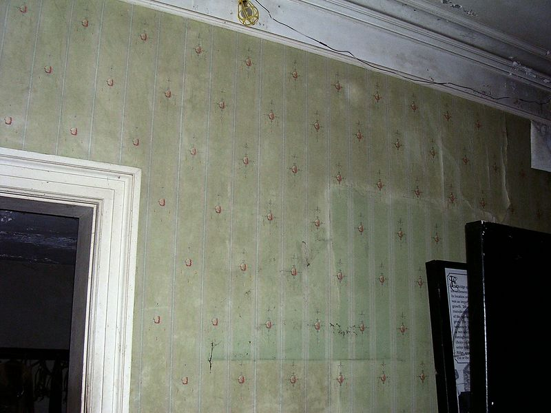 The wallpaper in the front room on the left once a rich apple green, is now browned and faded. The door in the center of the room (left) leads to the dining room. (The object at the far right is an unrelated sign being stored by the county until the house is renovated.)