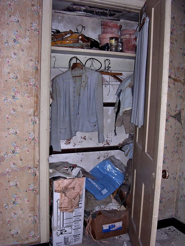Some of Nancy Smith's clothing and personal effects are still in the closet of a small bedroom in the addition. She may have lived in that room, where a modern bathroom had been added on the same level when electricity and indoor plumbing were installed, some time after 1937.
