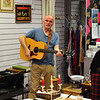 John Clarke entertained the visitors to Sandycove Vintage and Classics Charity Shop in Glasthule on Bloomsday 2016. Photograph: Margaret Brown 2016