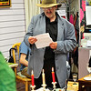 Duncan Sheppard doing a reading in Sandycove Vintage and Classics Charity Shop in Glasthule on Bloomsday 2016. Photograph: Margaret Brown 2016