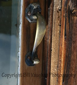 Antique door hardware on a home.