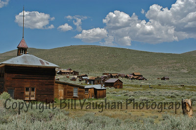 A view of Bodie that shows how the buildings spread out over the end of the valley.