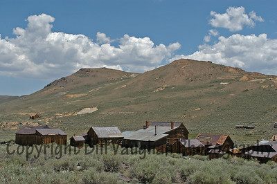 A street of Bodie homes from behind on the hill.