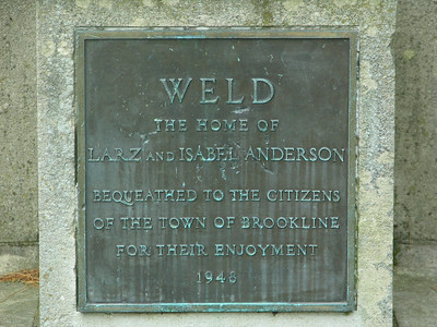 Exedra. This is the plaque encased in the exedra. It symbolizes the gift of the estate to the Town of Brookline upon Isabel's death in 1948. The name Weld is of her maternal grandfather, who founded the property.