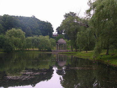 Water Garden with the tempietto and the Putterham School house in the background.